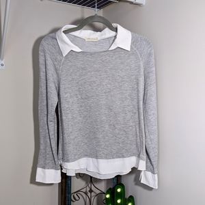 Anthropologie Pebble and Stone Heather Gray Top sm